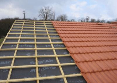 Chantier toiture tuiles mécaniques